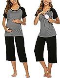 UNibelle Pijama de lactancia para mujer, sin mangas, de algodón, con función de lactancia, tallas S-XXL gris XXL
