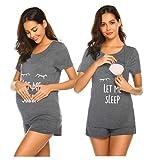 Unibelle Pijama de lactancia materna, camiseta y pantalón corto, verano, A_amuster2, M