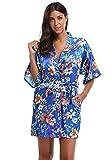 El Bund thebund Corto Floral Túnica Bata Kimono de Raso para Mujer - Multi -