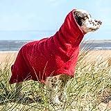 M.Q.L. Albornoz para Perros, Toalla de baño Absorbente, Abrigo de Secado rápido para Nadar o Caminar bajo la Lluvia, Cinta mágica Ajustable, Longitud de Espalda de 43 cm para Cachorros